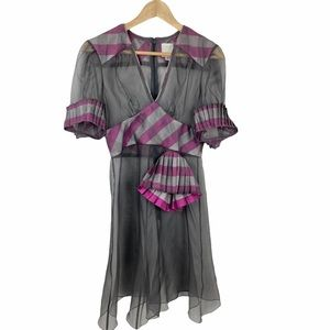 Anna Sui Sheer Silk Gingham Pleated Accent Dress